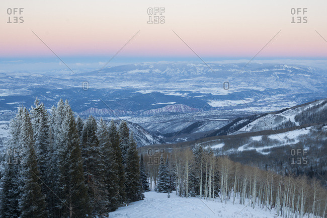 View from the summit of Williams Peak at dusk in White River National Forest, Colorado.