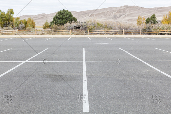 An empty parking lot in Great Sand Dunes National Park, Colorado during the government shutdown.