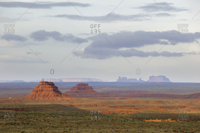 Buttes tower over the surrounding desert in the Valley of the Gods, Utah.