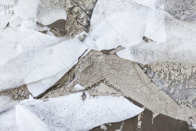 Ice with sediment and air bubbles, Plaine Morte Glacier, Canton of Bern, Switzerland