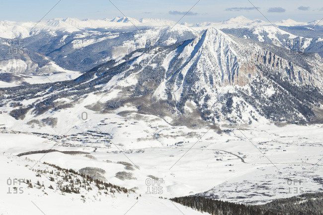 Crested Butte and other peaks of Elk Mountains from Mount Emmons, Gunnison National Forest, Colorado, USA