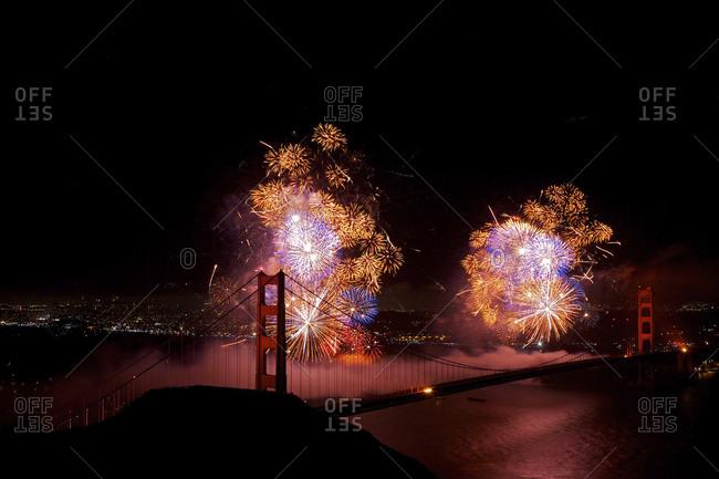 Fireworks display near Golden Gate Bridge, San Francisco, California, United States