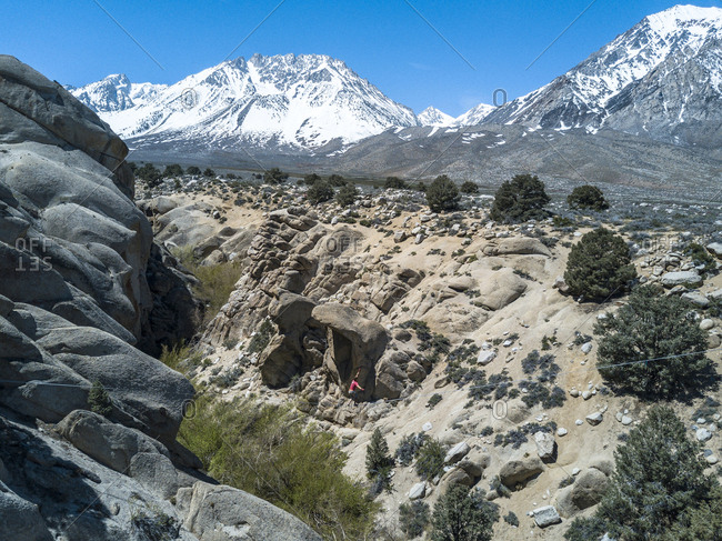 Highliner on the line in mountains in Bishop, California