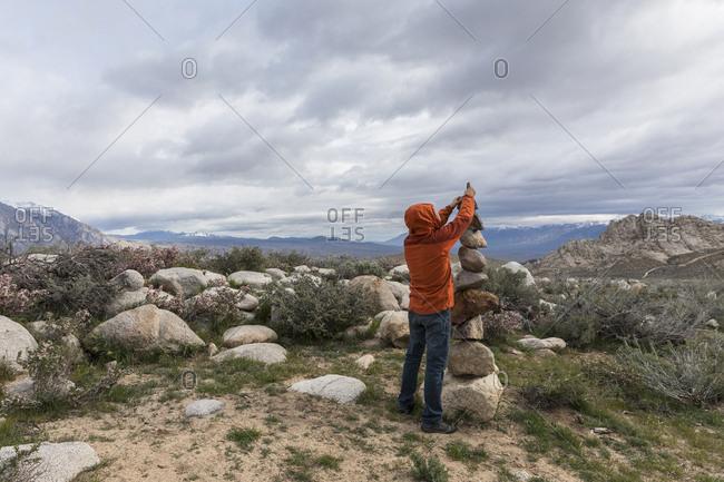 Building a rock castle in Bishop, California