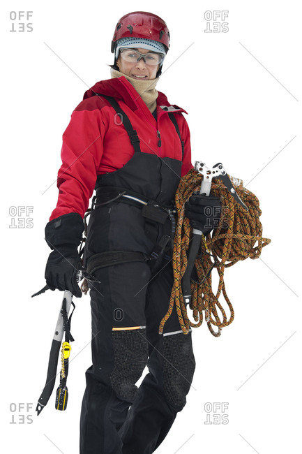 A woman is dressed and ready for ice climbing, Sounkyo Gorge, Daisetsuzan National Park, Hokkaido, Japan.