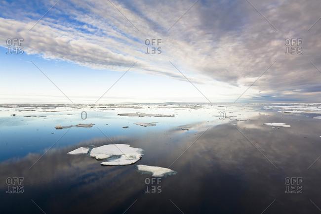 Pack ice in Barrow Strait, Qikiqtaaluk Region, Nunavut, Canada.