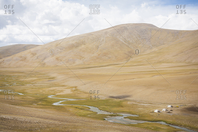 A nomadic grazing camp in the Changtang region, Ladakh, India.