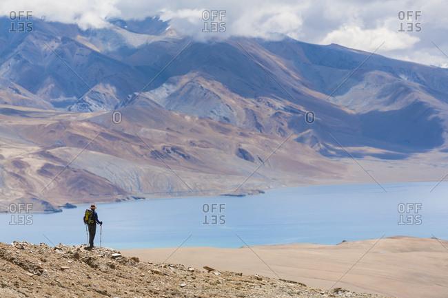 A woman is hiking toward Tsomoriri, Chnagtang region, Ladakh, India.