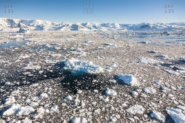 Brash ice in Gerlache Strait, Antarctic Peninsula, Antarctica.