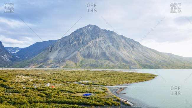 A Hikers Tent Camp Beside Turquoise Lake In Lake Clark National Park And Preserve, Alaska, Usa