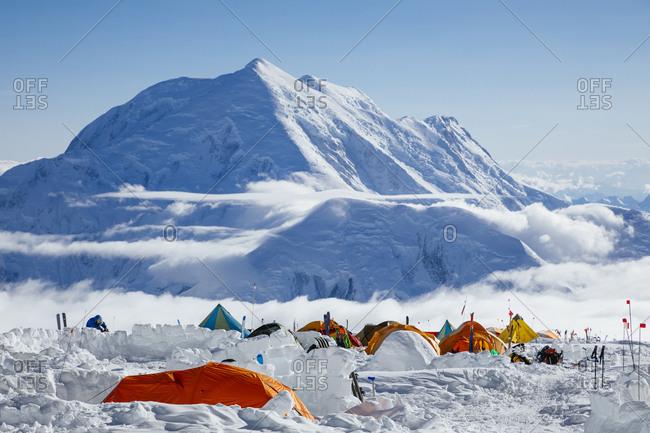 Tents at 14k camp on Denali in Denali National Park, Alaska, USA