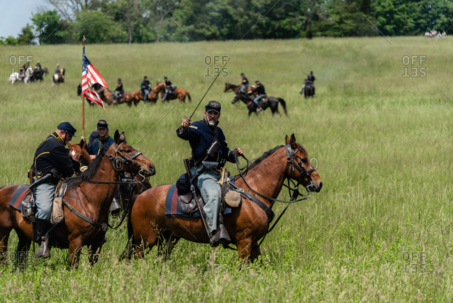 Virginia, USA - May 18, 2019: Soldiers on horses during Civil War Reenactment