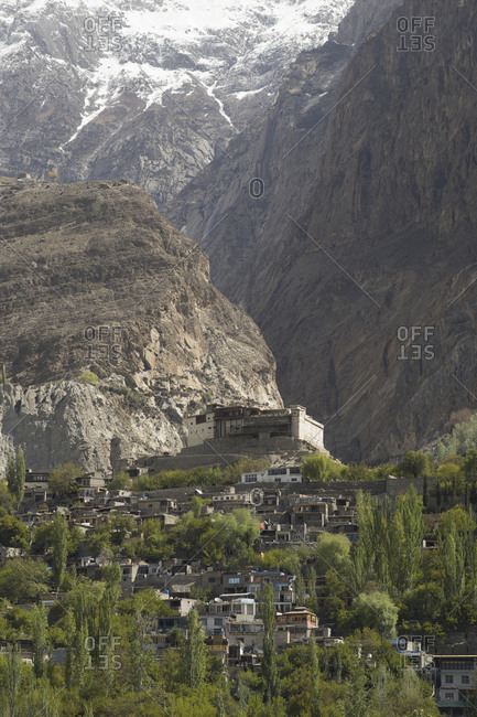 Karimabad, Gilgit-Baltistan, Pakistan - May 5, 2018: The Baltit Fort in the Hunza Valley