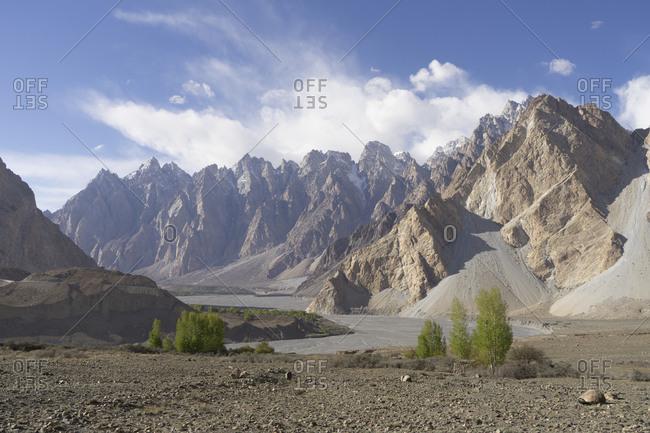 Rugged ridges of the Passu Cathedral, Gilgit-Baltistan, Pakistan