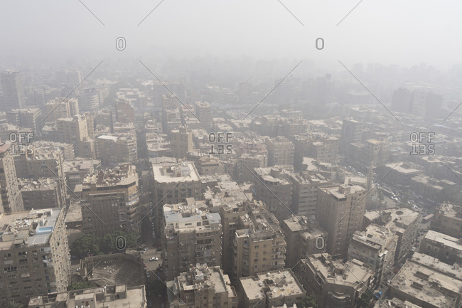 Cairo, Egypt - March 5, 2017: Hazy day in downtown Cairo, Egypt