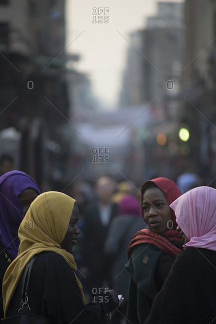 Cairo, Egypt - March 2, 2017: Crowds of shoppers at Cairo's sprawling Khan al-Khalili bazaar