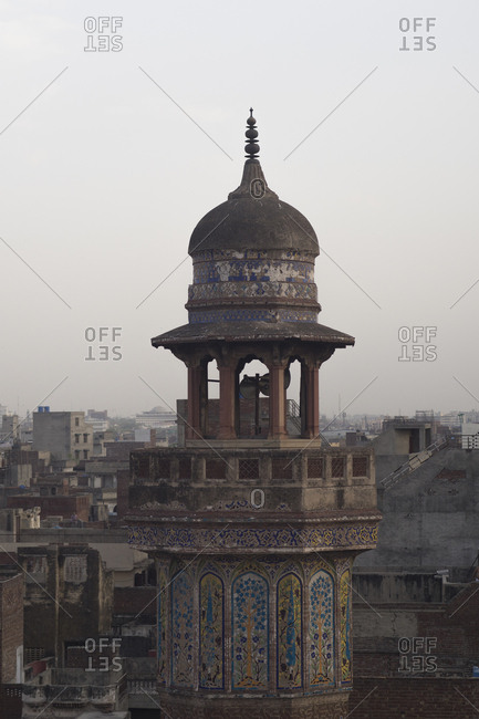 Lahore, Pakistan - April 30, 2018: Wazir Khan Mosque, built in the era of Shah Jahan within the walled city of Lahore