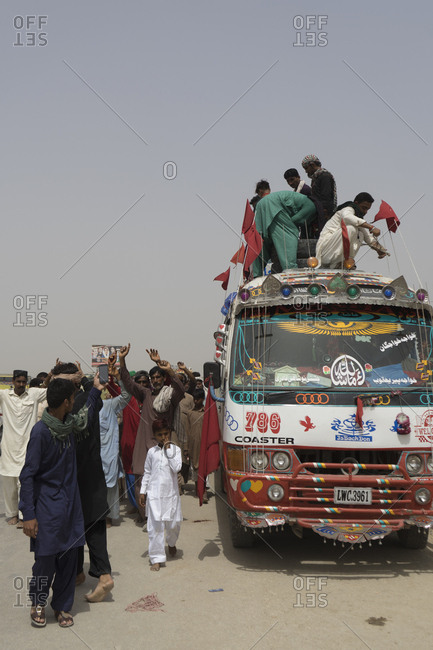 Sehwan Sharif, Pakistan - April 25, 2018: Pilgrims at the annual Urs festival