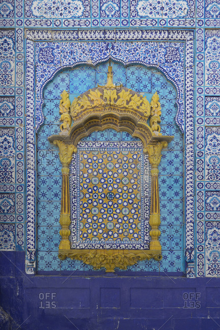 Daraza, Ranipur, Khairpur, Sindh, Pakistan - April 27, 2018: Blue tile wall at the Dargah Hazrat Sachal Sarmast, Sindh