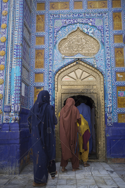 Daraza, Ranipur, Khairpur, Sindh, Pakistan - April 27, 2018: Female pilgrims at Dargah Hazrat Sachal Sarmast, Sindh
