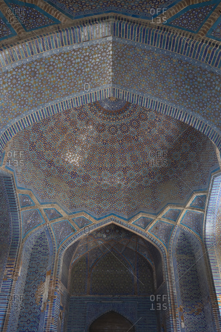 Thatta, Pakistan - April 21, 2018: Interior of dome in the Shah Jahan Mosque