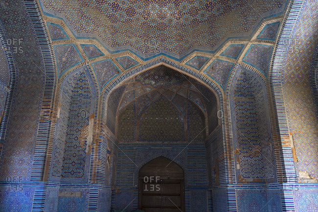Thatta, Pakistan - April 21, 2018: Interior of dome and arches in the Shah Jahan Mosque