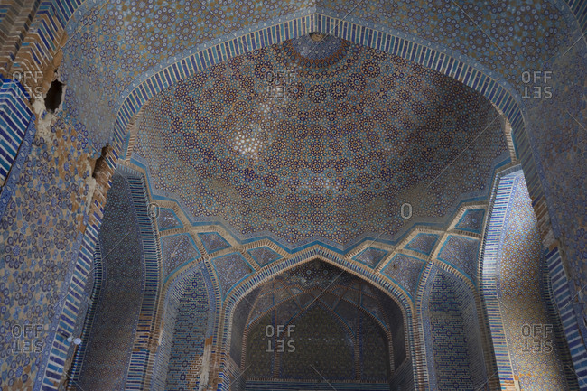 Thatta, Pakistan - April 21, 2018: Low angle view of dome in the Shah Jahan Mosque