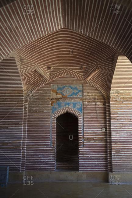 Thatta, Pakistan - April 21, 2018: Red brick design at Shah Jahan Mosque, Thatta