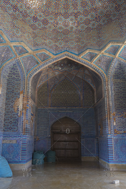 Thatta, Pakistan - April 21, 2018: Dome and arches in the Shah Jahan Mosque