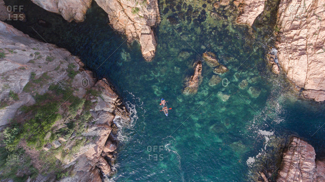 Aerial view of crystal kayak in Costa Brava, Catalonia, Spain.