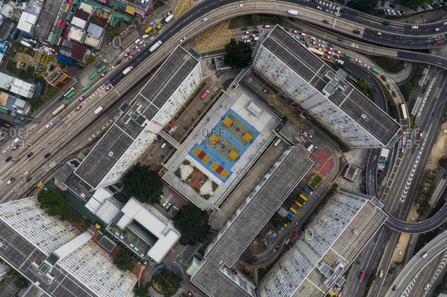 February 4, 2019: Aerial view of the Choi Hung Estate, in Hong Kong.
