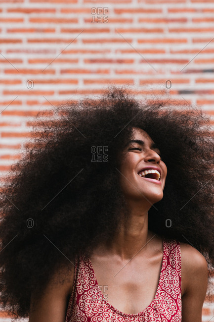 Close up of afro hair girl with beautiful bright teeth