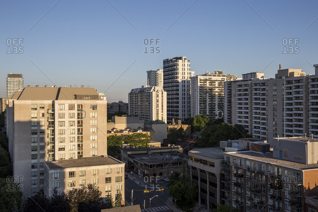 June 30, 2019: A view of apartment buildings and streets in Davisville in Toronto, Ontario, Canada