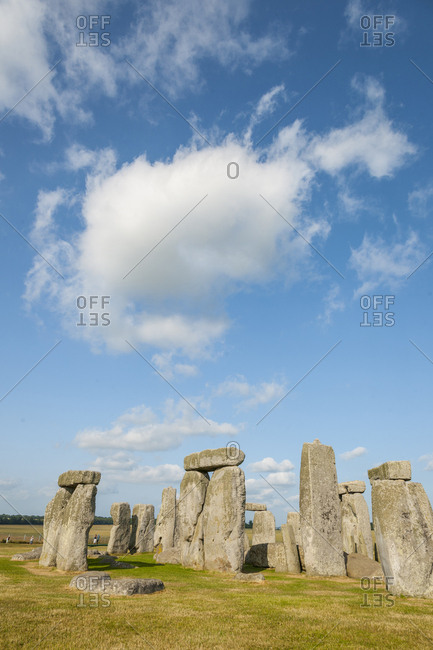United Kingdom, England, Stonehenge . Stonehenge is a Neolithic site located near Amesbury in Wiltshire, England. It is the most famous and impressive cromlech: composed of a circular set of large erect stones, known as megaliths, sometimes surmounted by colossal horizontal elements, it is probably a prehistoric astronomical observatory