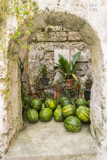 Italy, Apulia, Galatina . Fruit shop at Via d'Aruba, watermelons for sale