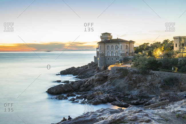 "Italy, Tuscany, Livorno . The Boccale castle is a large manor rising in Livorno, south of the Antignano district, along the coastal road to Quercianella along the coast called ""Boccale"" or ""Cala dei Pirati"""