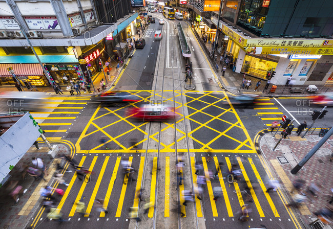 November 13, 2018: Pedestrians crossing road in Hong Kong Central- Hong Kong- China