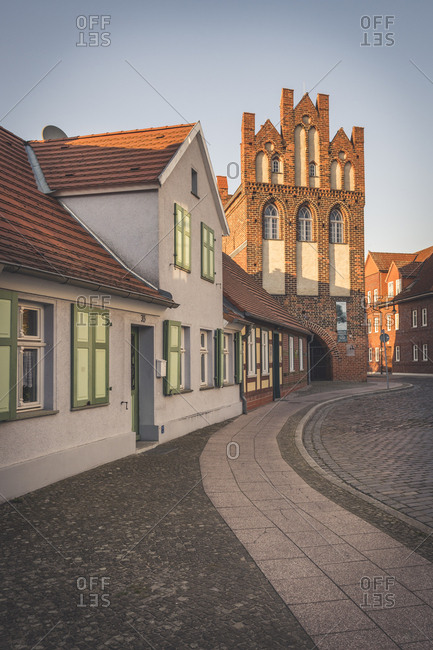 April 18, 2019: Gothic town gate- Wittenberge- Brandenburg- Germany