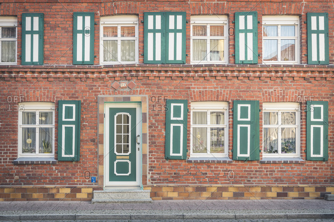 April 18, 2019: Front of a restored house- Wittenberge- Brandenburg- Germany