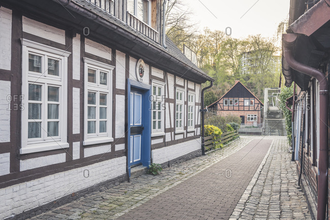 April 19, 2019: Half-timbered houses- Hitzacker- Lower Saxony- Germany