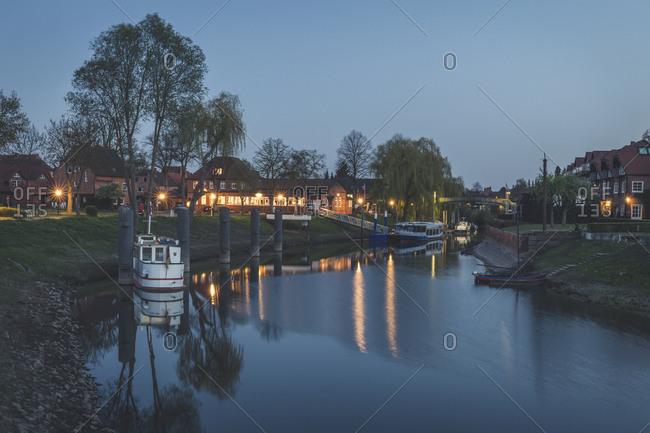 April 19, 2019: Harbor in the evening- Hitzacker- Lower Saxony- Germany