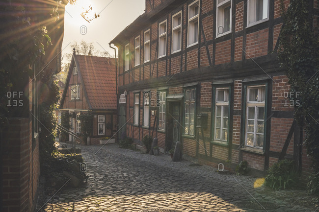 April 20, 2019: Half-timbered houses in backlight- Lauenburg- Schleswig-Holstein- Germany