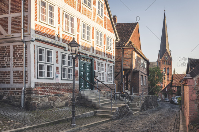April 20, 2019: Half-timbered houses and Mary Magdalene church- Lauenburg- Schleswig-Holstein- Germany