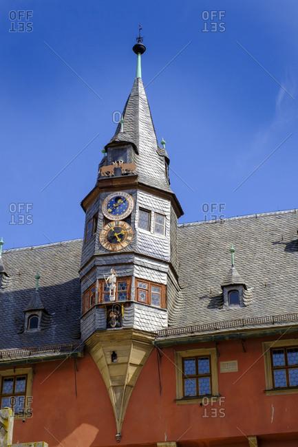 April 24, 2019: Moon clock at Lanzentuermchen- new townhall- Ochsenfurt- Bavaria- Germany