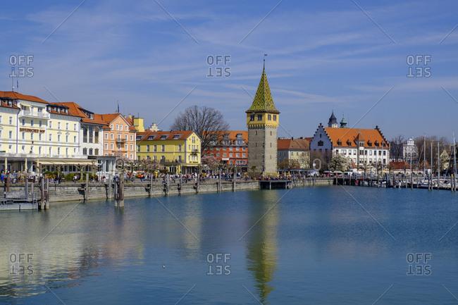 March 30, 2019: Harbor with Mangturm- Lake Constance- Lindau- Bavaria- Germany