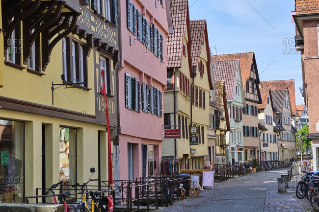 May 7, 2019: Row of houses in the old town- Tuebingen- Baden-Wuerttemberg- Germany