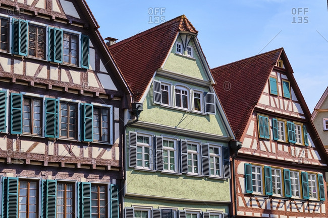 May 7, 2019: Timber-framed houses in the old town- Tuebingen- Baden-Wuerttemberg- Germany