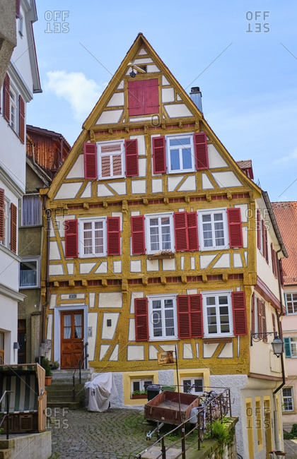 May 7, 2019: Timber-framed house in the old town- Tuebingen- Baden-Wuerttemberg- Germany