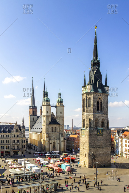 July 8, 2019: View to Market Square with Red Tower and Market Church- Halle- Germany