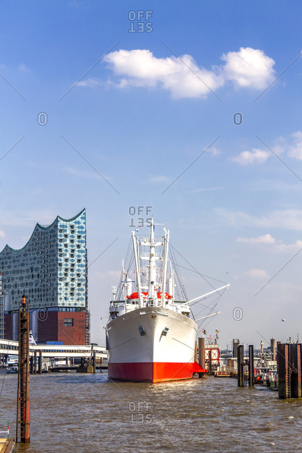 July 8, 2019: View to Elbe Philharmonic Hall with Cap San Diego ship in the foreground- Hamburg- Germany